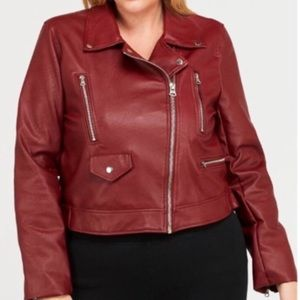 Jackets & Blazers - Faux Leather Red Moto Jacket